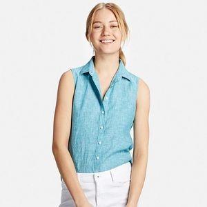Uniqlo sleeveless premium linen top